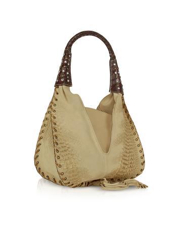 Foto der Handtasche Ghibli Hobo Tasche aus reptilgepraegtem Leder und beigefarbenem Stoff mit Verzierung
