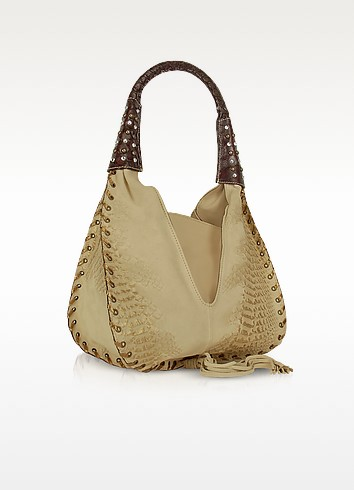 Jeweled Beige Suede and Reptile Leather Hobo Bag - Ghibli