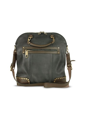 Ghibli Black and brown Studded Oversized Leather Bag :  stylish italian handbag women womens