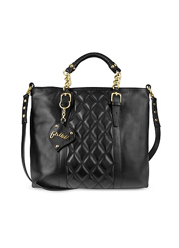 Ghibli Black Quilted Front Nappa Leather Tote Bag :  stylish womens bags ghibli