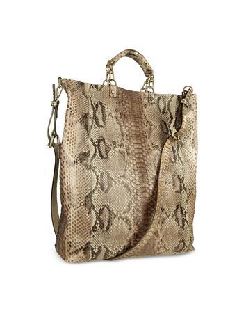Ghibli Light Golden Brown Python Leather Large Tote Bag