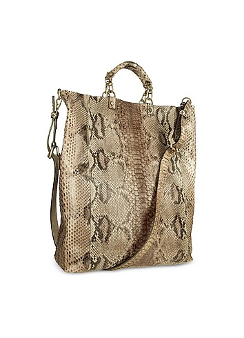 Ghibli Light Golden Brown Python Leather Large Tote Bag :  handbags forzieri accessory italian handbag