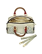 Quilted Beige and Brown Leather Trim Bauletto Bag - Ghibli