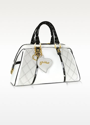 Quilted White & Black Leather Trim Bauletto Bag - Ghibli