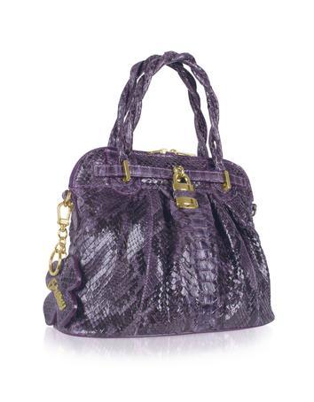 Ghibli Purple Python Skin Compact Tote Bag.
