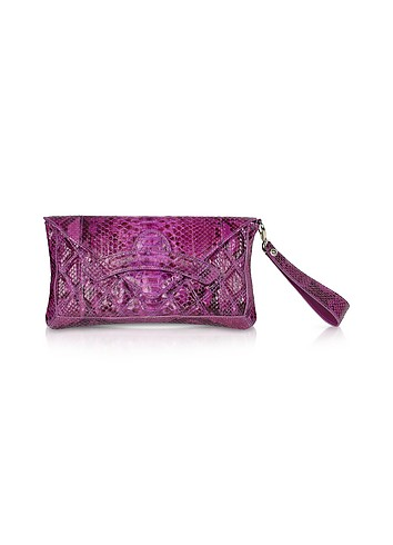 Ghibli Purple Python Skin Envelope Clutch Bag :  designer accessories accessories italian bags bag