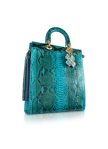 Ghibli Turquoise Python Skin Large Tote Bag :  designer accessories accessories bag python leather
