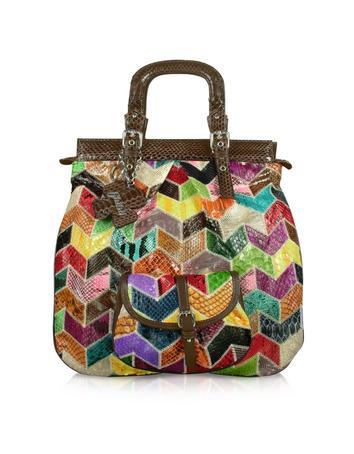 Ghibli Multicolor Patchwork Python Tote Handbag