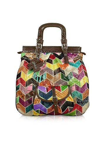 Ghibli Multicolor Patchwork Python Tote Handbag :  designer bags bag python leather italian bag