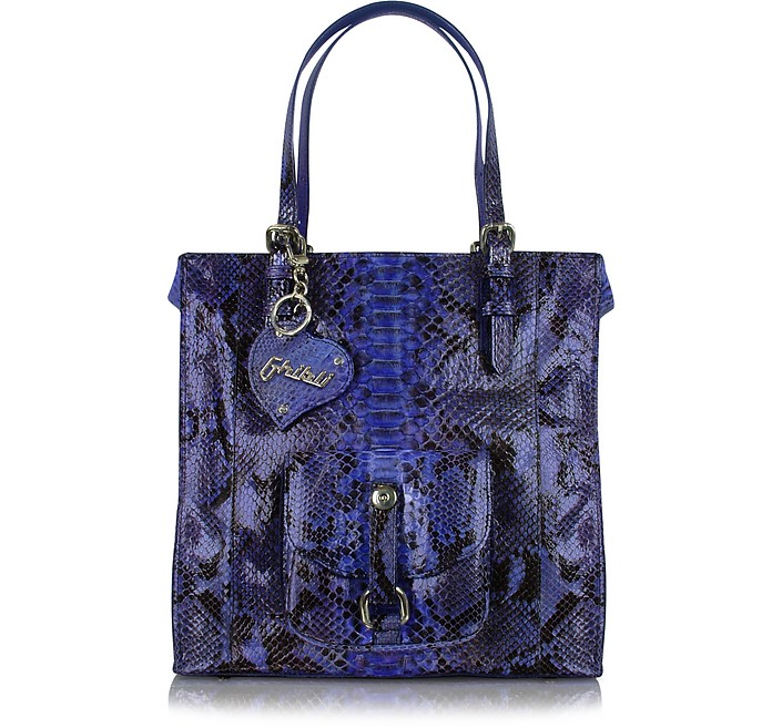 Violet Front Pocket Python Tote Bag w/Pouch - Ghibli
