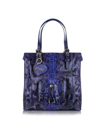 Ghibli Violet Front Pocket Python Tote Bag w/Pouch
