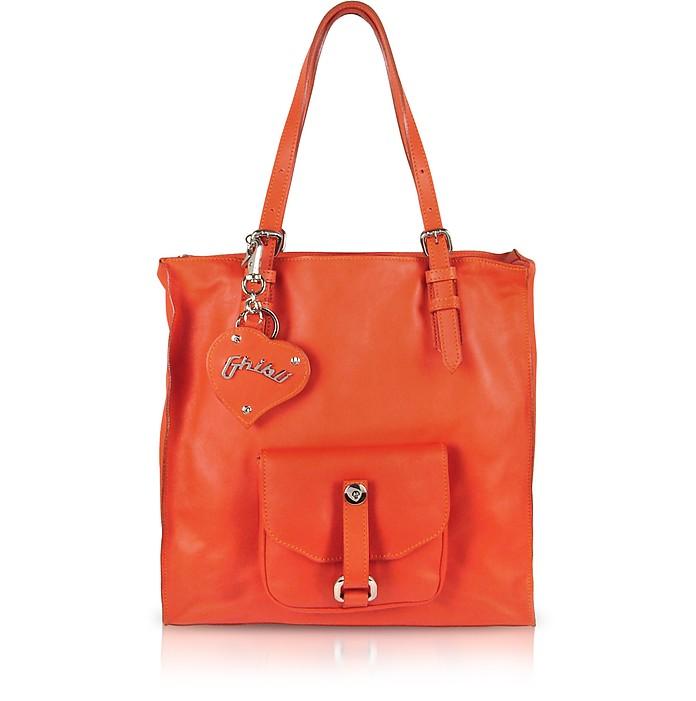 Orange Nappa Leather Zippered Tote Bag - Ghibli