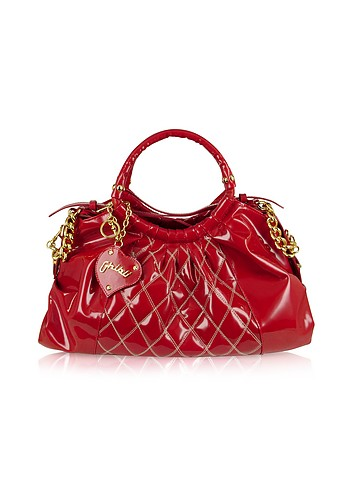 Ghibli Red Quilted Patent Leather Large Satchel Bag :  stylish accessory italian handbag women