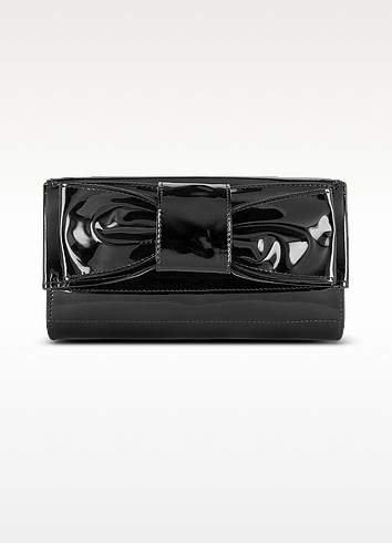 Front Bow Black Patent Leather Clutch - Ghibli
