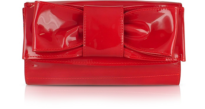 Front Bow Red Patent Leather Clutch Bag - Ghibli