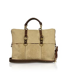 Beige Croco Stamped Suede Large Tote Bag - Ghibli