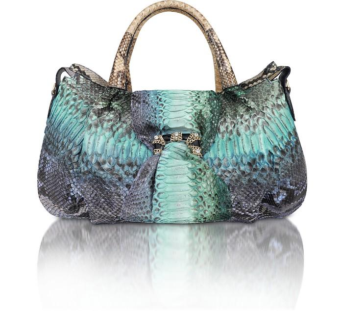Jeweled Python Leather Satchel Bag - Ghibli