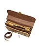 Women's Gold Brown Reptile Leather Double Gusset Briefcase - Ghibli