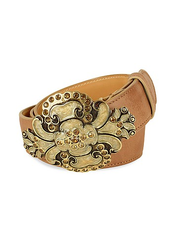 Ghibli Jeweled Buckle Light Brown Leather Belt