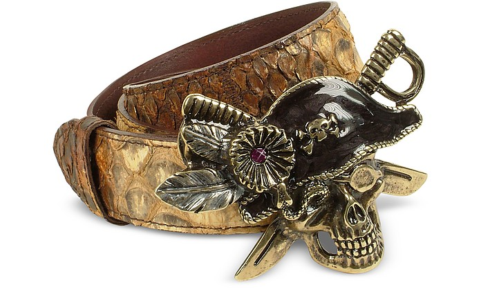 Pirate Skull Buckle Light Brown Python Leather Belt - Ghibli