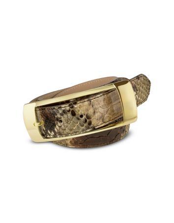 Ghibli Light Brown Python Leather Belt