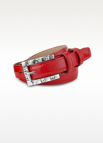 Jeweled Buckle Red Patent Leather Skinny Belt - Ghibli