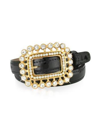 Ghibli Swarovski Crystal Buckle Black Patent Leather Belt