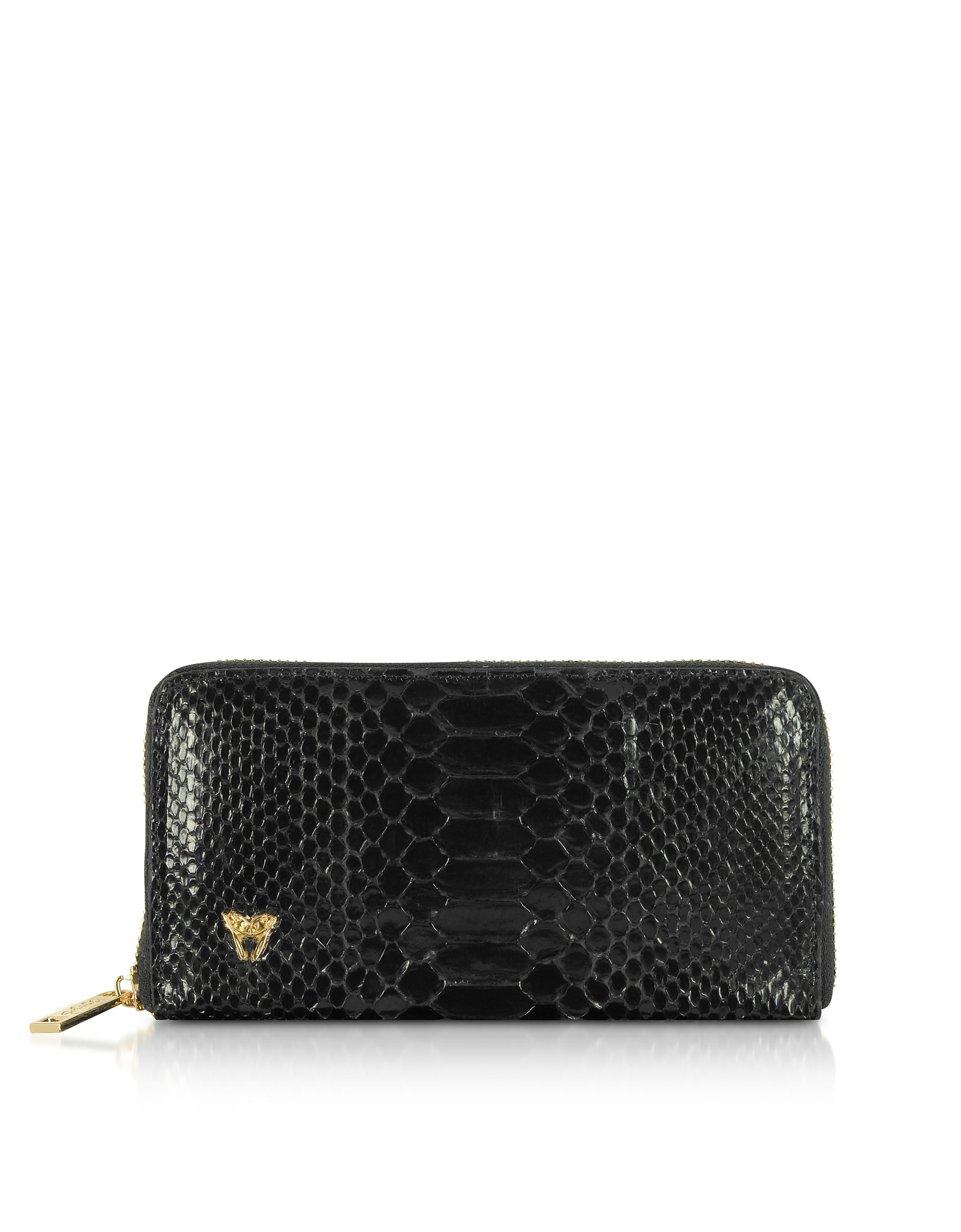 Ghibli Handbags, Glossy Black Python Leather Continental Wallet