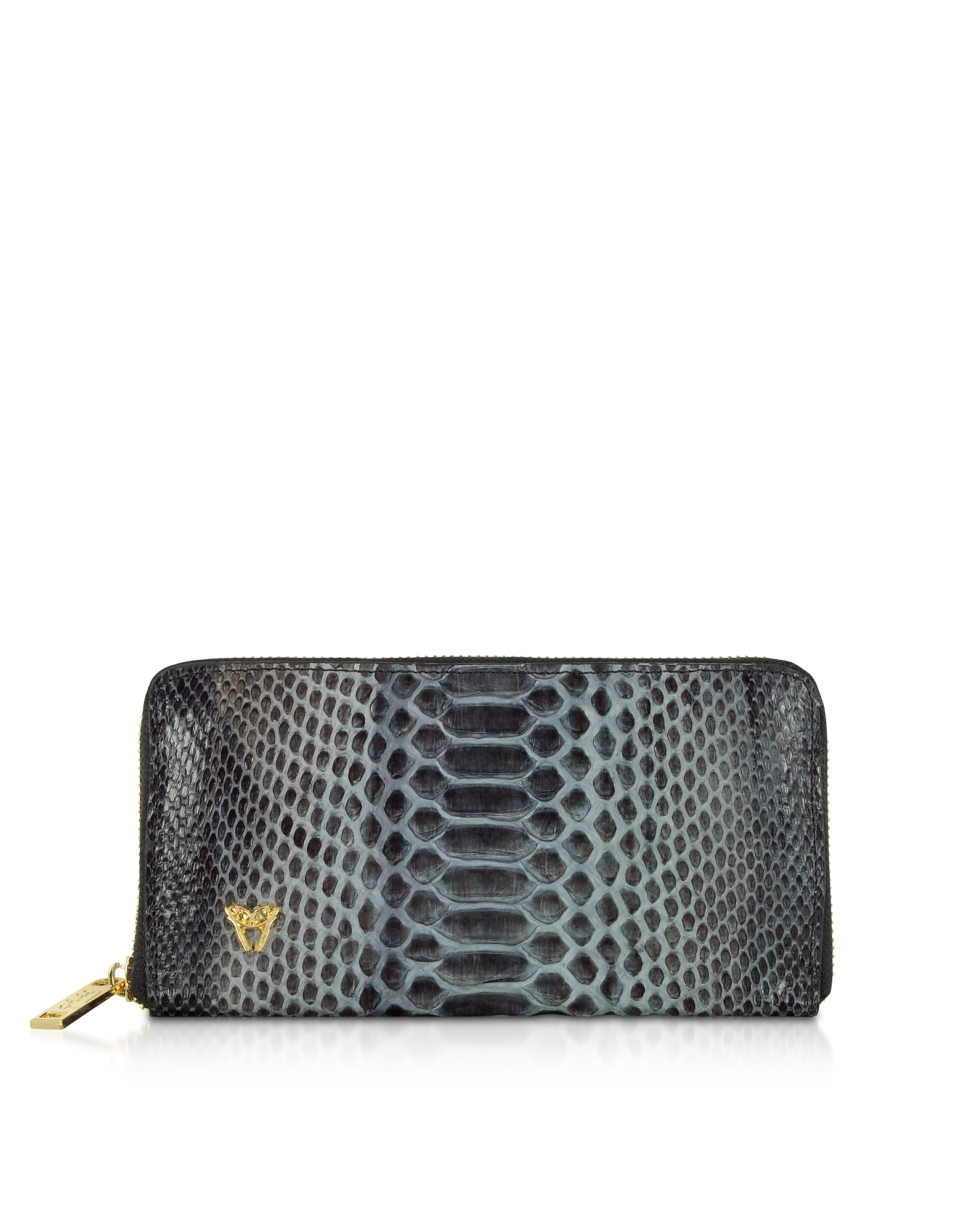 Python Leather Zip Around Continental Wallet