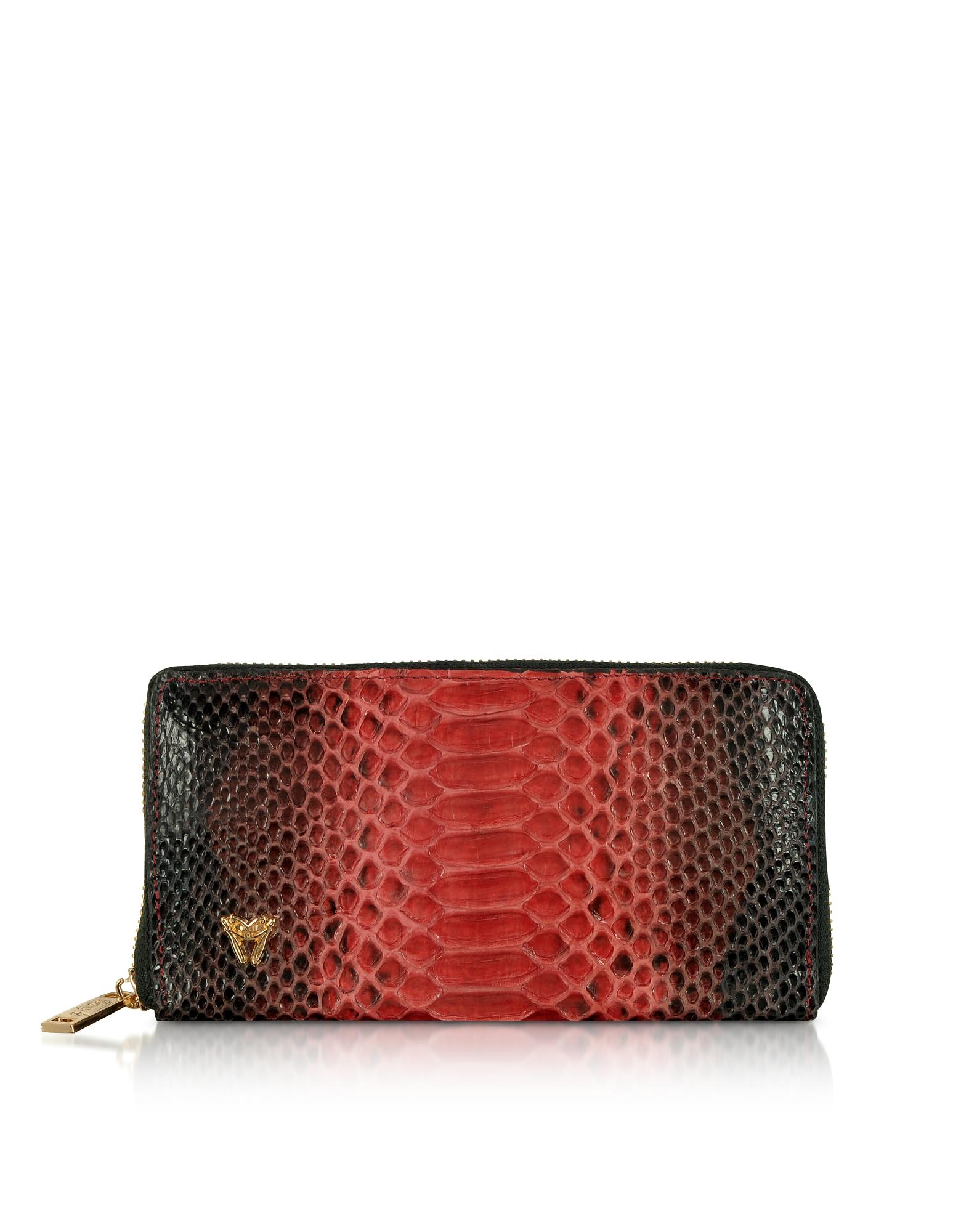Ghibli Handbags, Python Leather Zip Around Continental Wallet