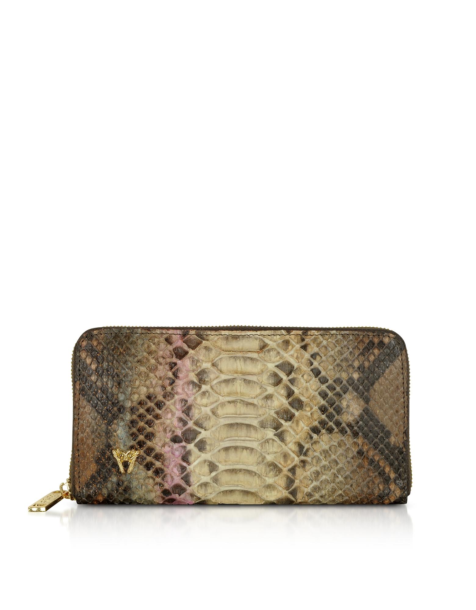 Ghibli Handbags, Glitter Python Leather Continental Wallet