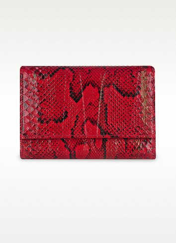 Ladies' Red Python and Calf Leather Flap ID Wallet - Ghibli