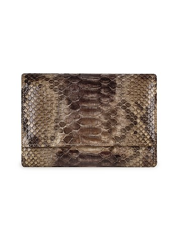 Ghibli Ladies' Brown Python and Calf Leather Flap ID Wallet