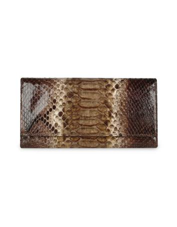 Ghibli Ladies' Brown Python and Calf Leather Continental Wallet