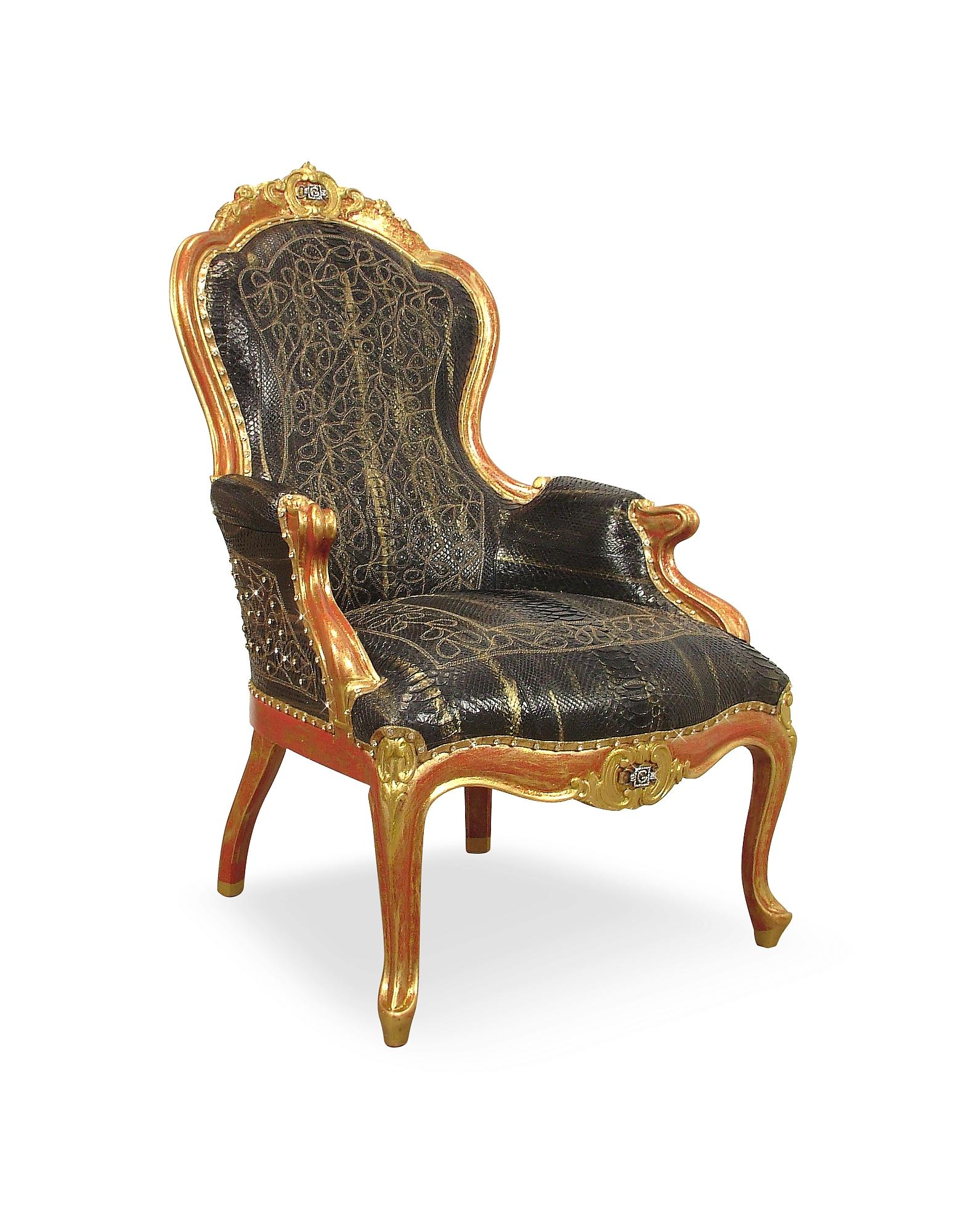 Черное Кресло Louis Philippe из Кожи Рептилий с Отделкой