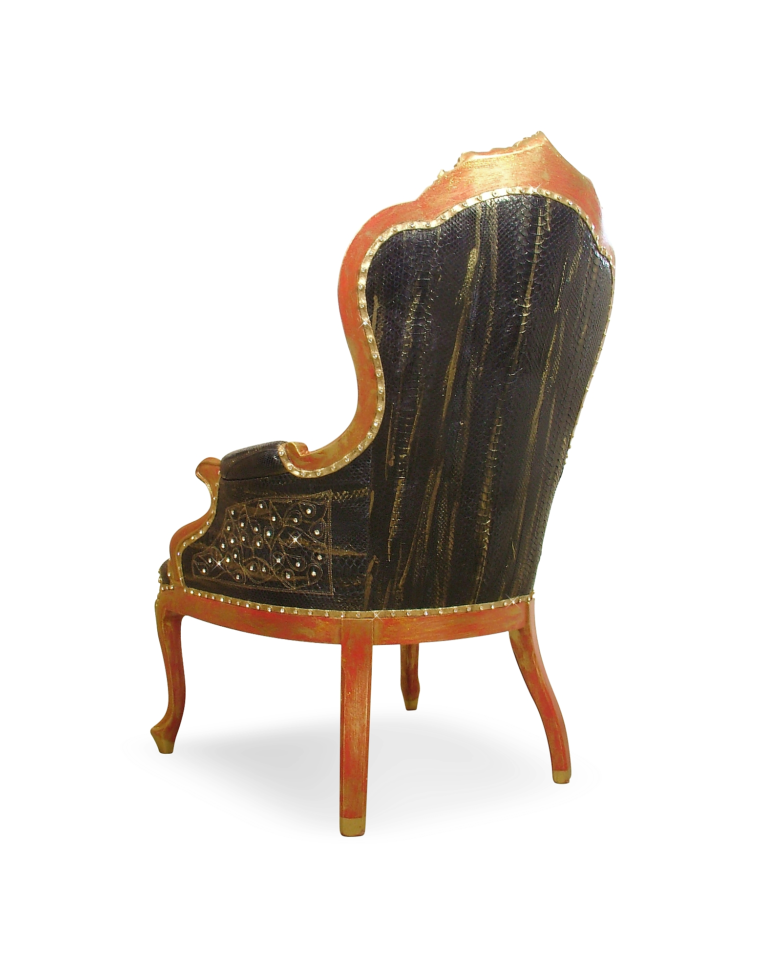 Black Embroidered Reptile Leather Louis Philippe Armchair от Forzieri.com INT