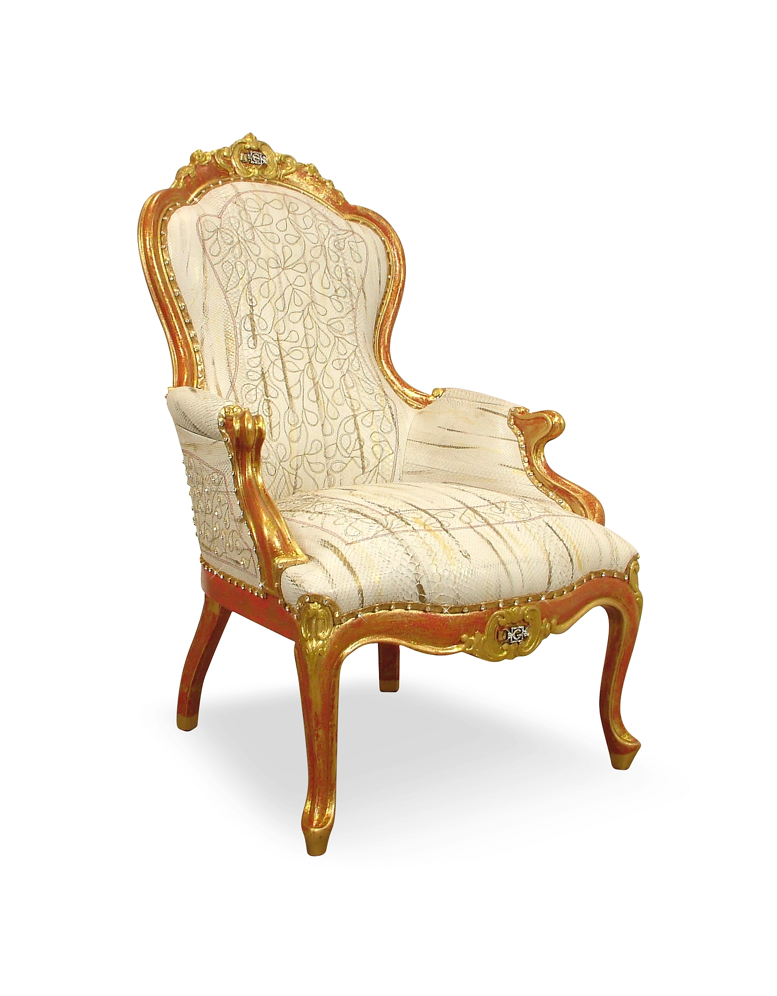 Ghibli Kitchen & Dining, Cream Embroided Reptile Leather Louis Philippe Armchair