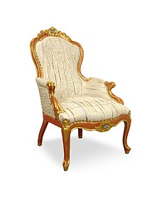 Cream Embroided Reptile Leather Louis Philippe Armchair - Ghibli
