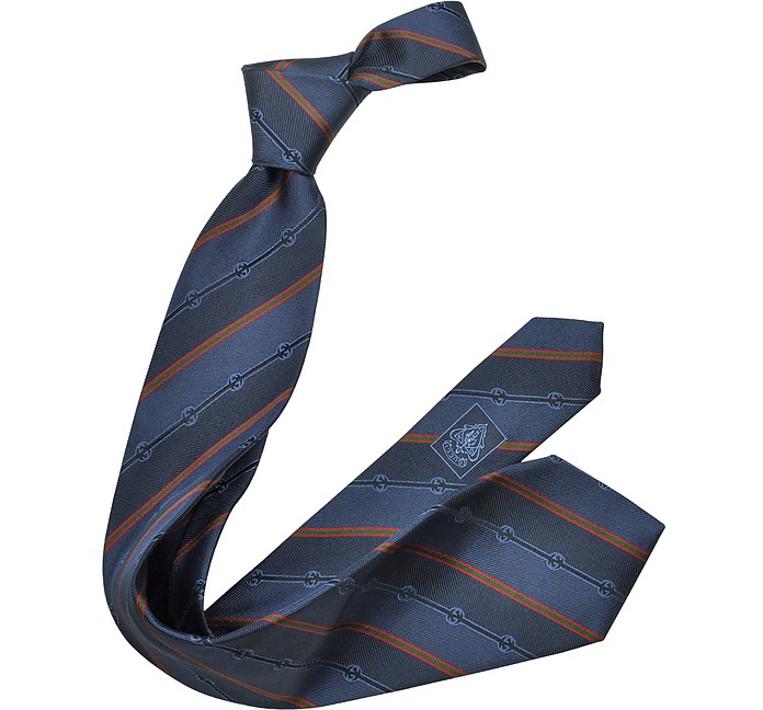 GG Textures and Stripes Woven Silk Tie - Gucci