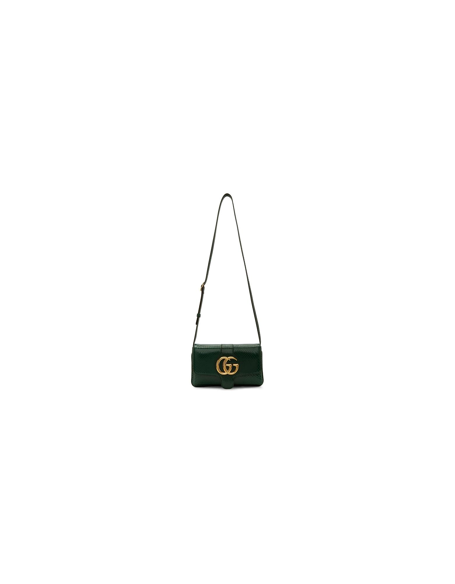 Gucci Designer Handbags, Green Small Croc Arli Bag