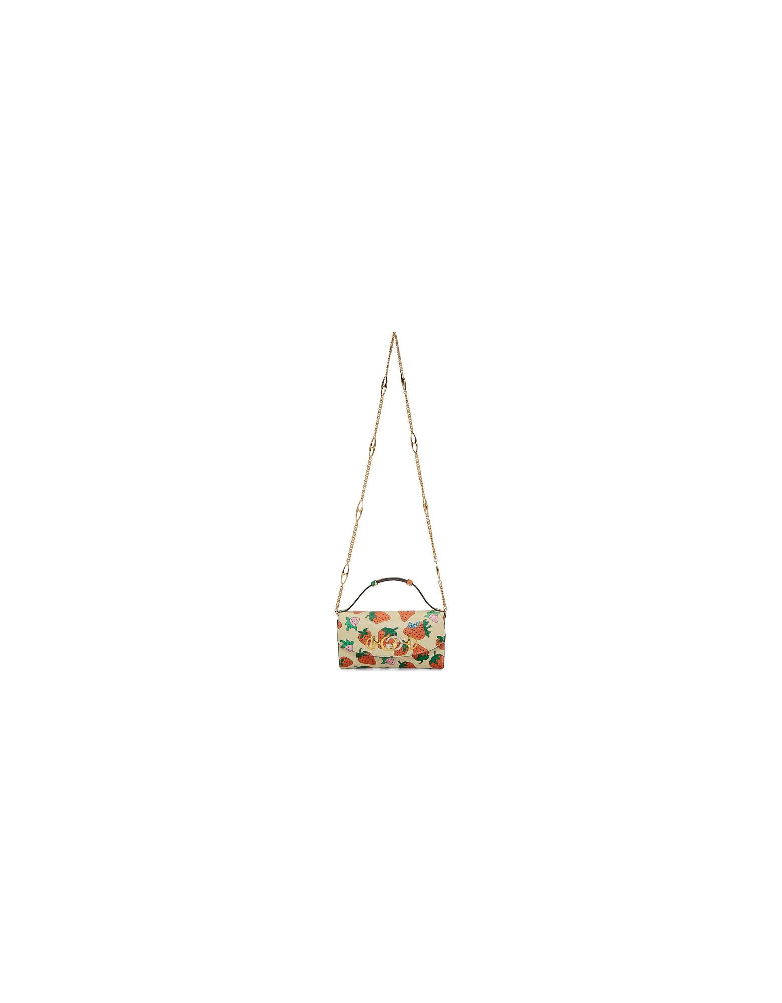 Gucci Designer Handbags, Off-White Mini Zumi Strawberry Shoulder Bag