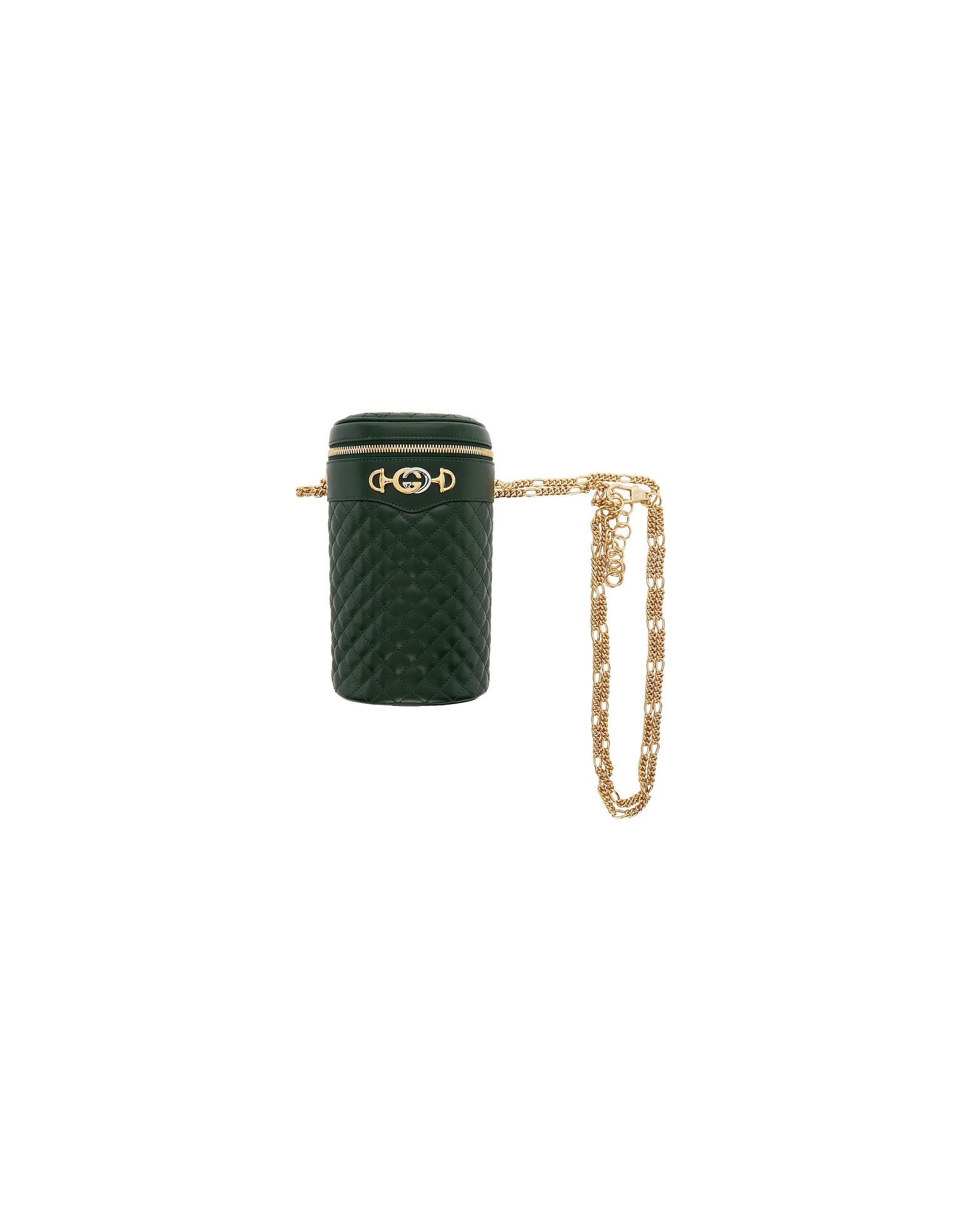 Gucci Designer Handbags, Green Quilted Leather Belt Bag