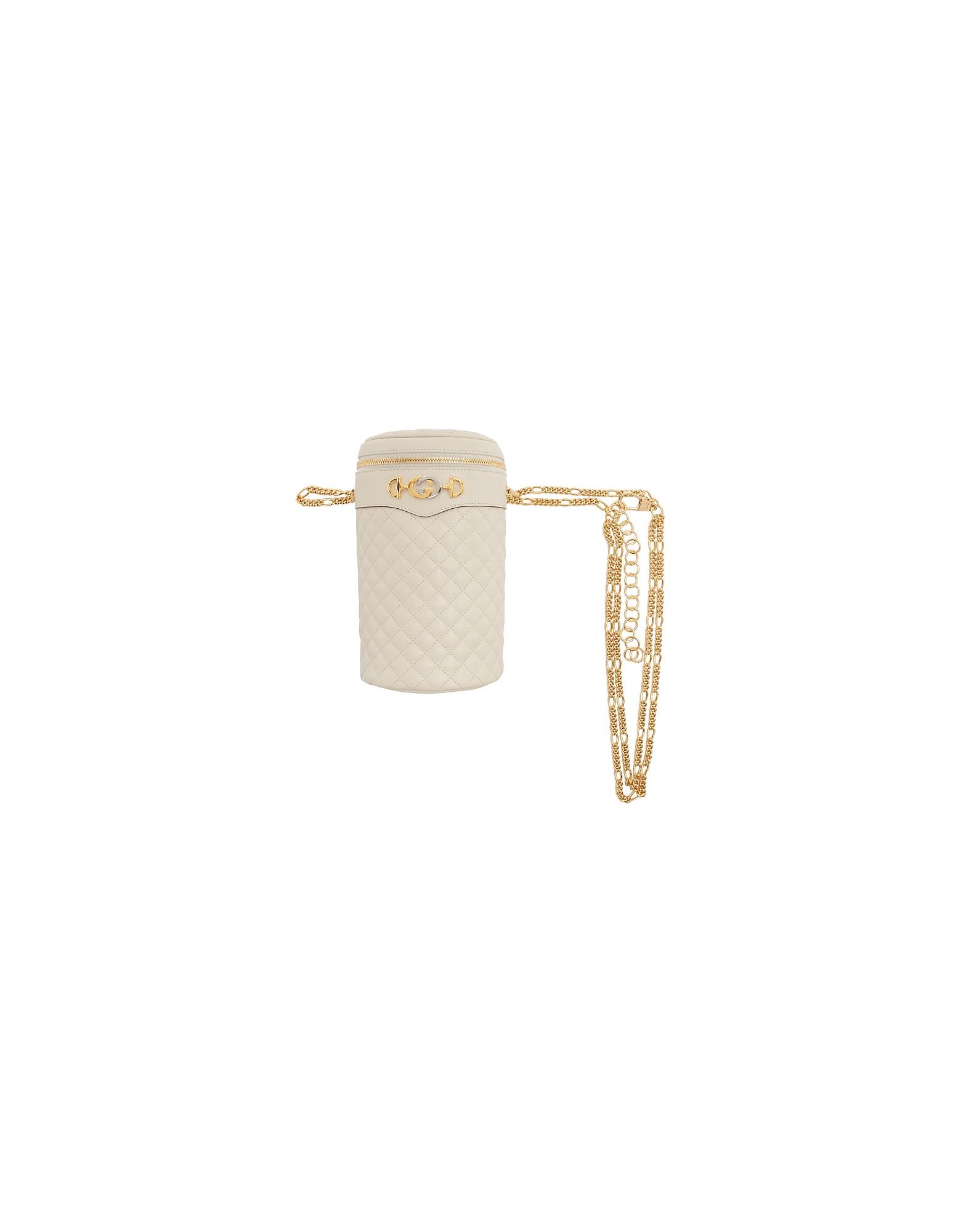 Gucci Designer Handbags, Off-White Quilted Leather Belt Bag