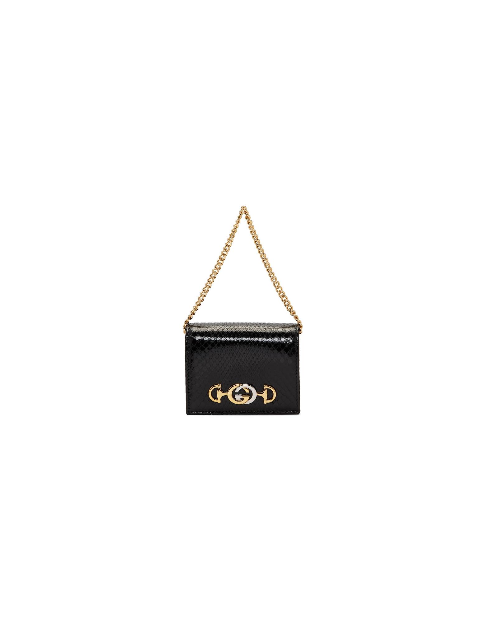 Gucci Designer Handbags, Black Python Linea Wallet Bag