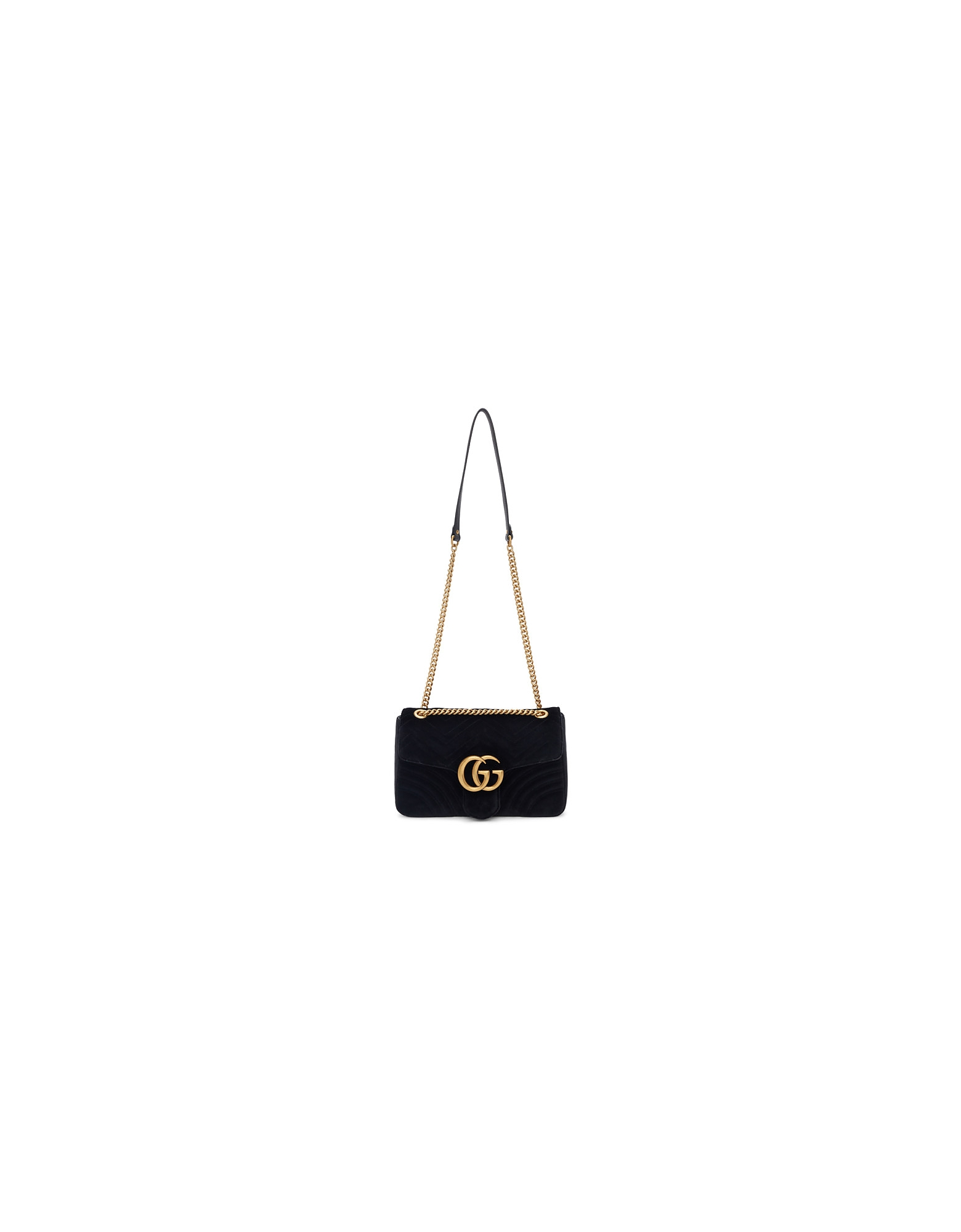 Gucci Designer Handbags, Black Velvet Medium GG Marmont 2.0 Bag