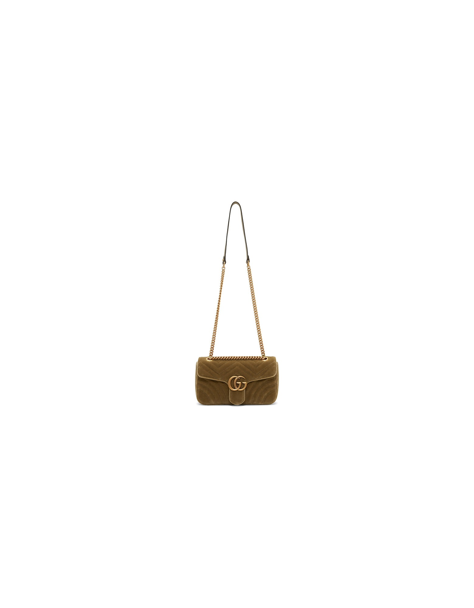 Gucci Designer Handbags, Tan Velvet Small GG Marmont 2.0 Bag