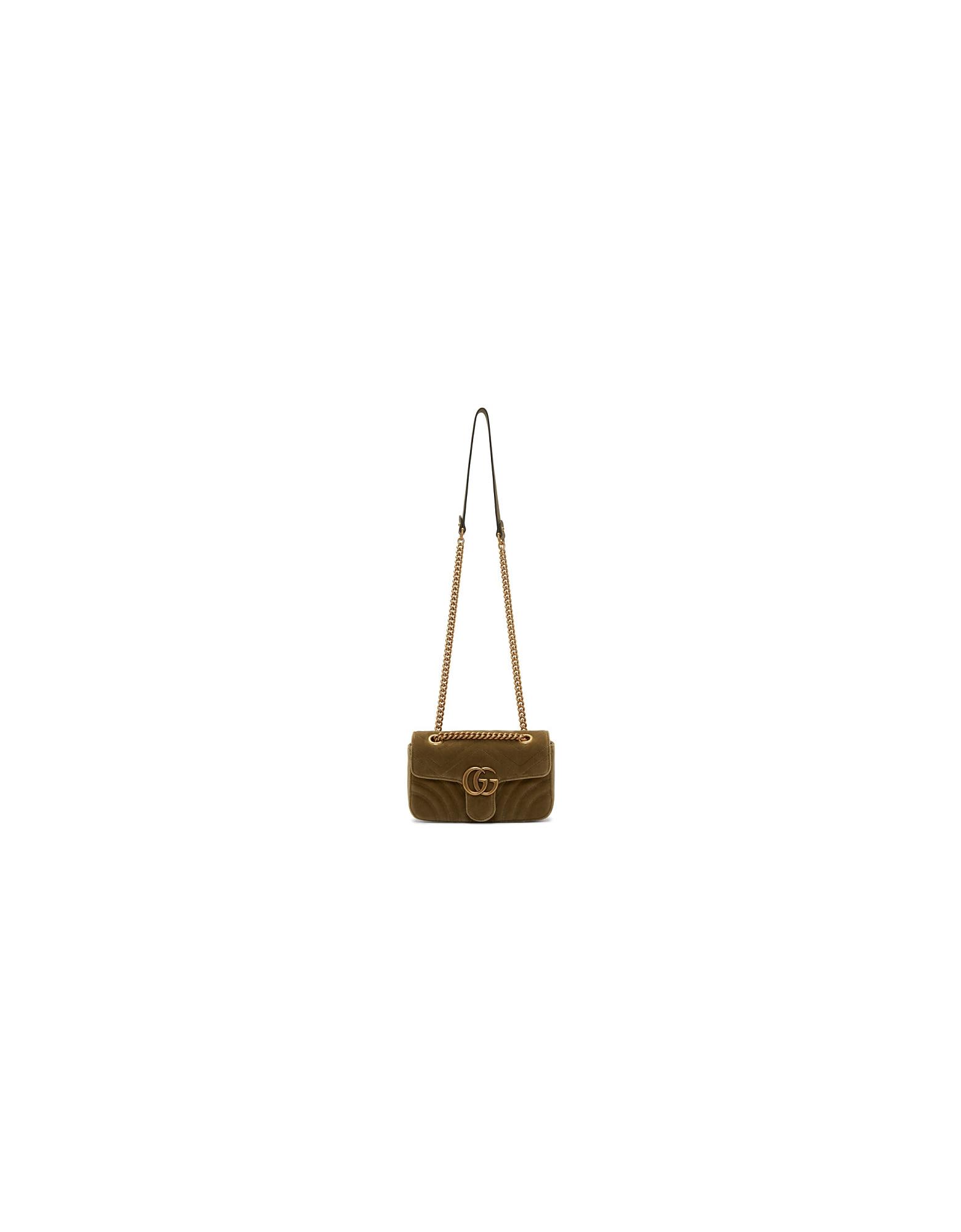 Gucci Designer Handbags, Tan Velvet Mini GG Marmont 2.0 Bag