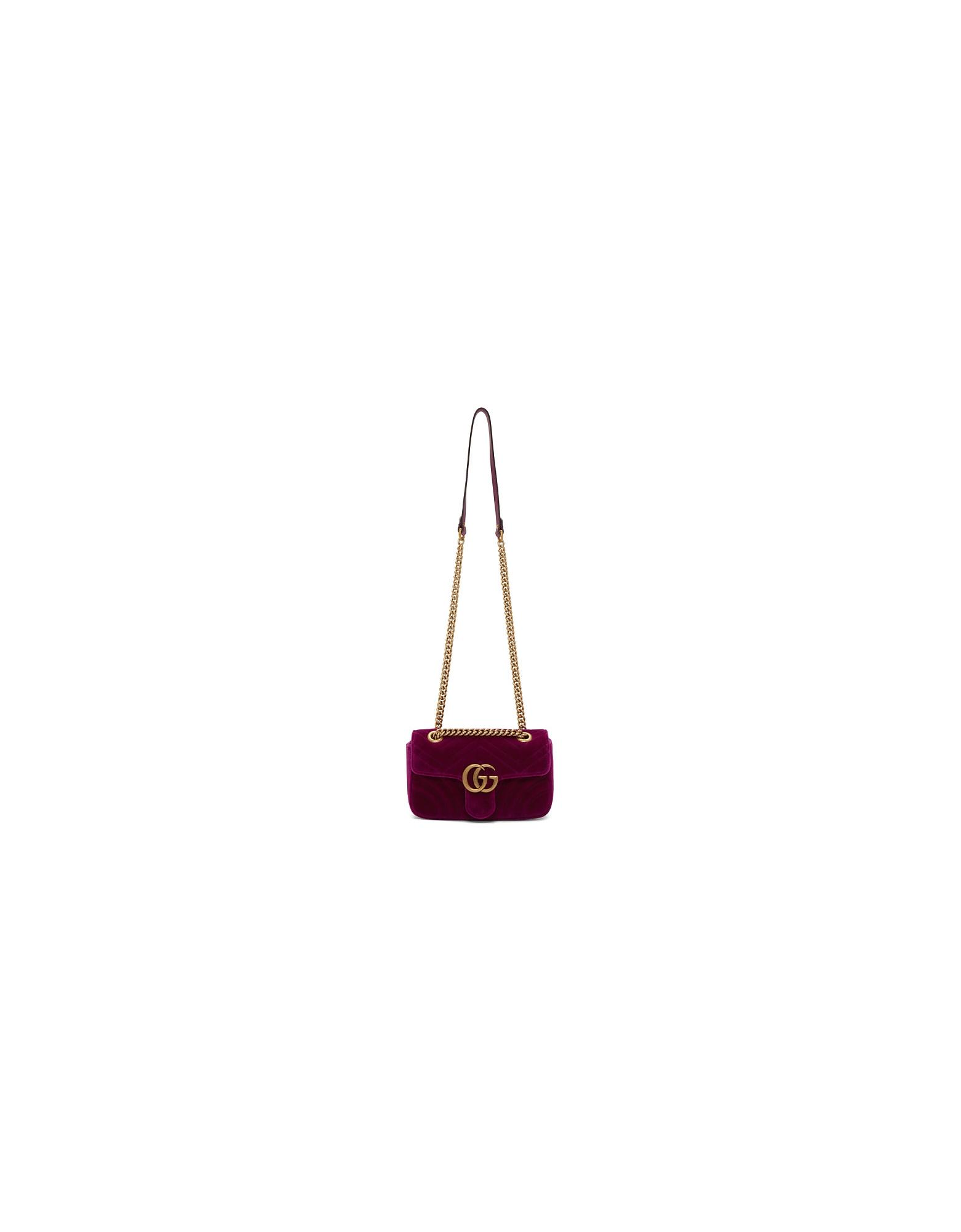 Gucci Designer Handbags, Purple Velvet Mini GG Marmont 2.0 Bag
