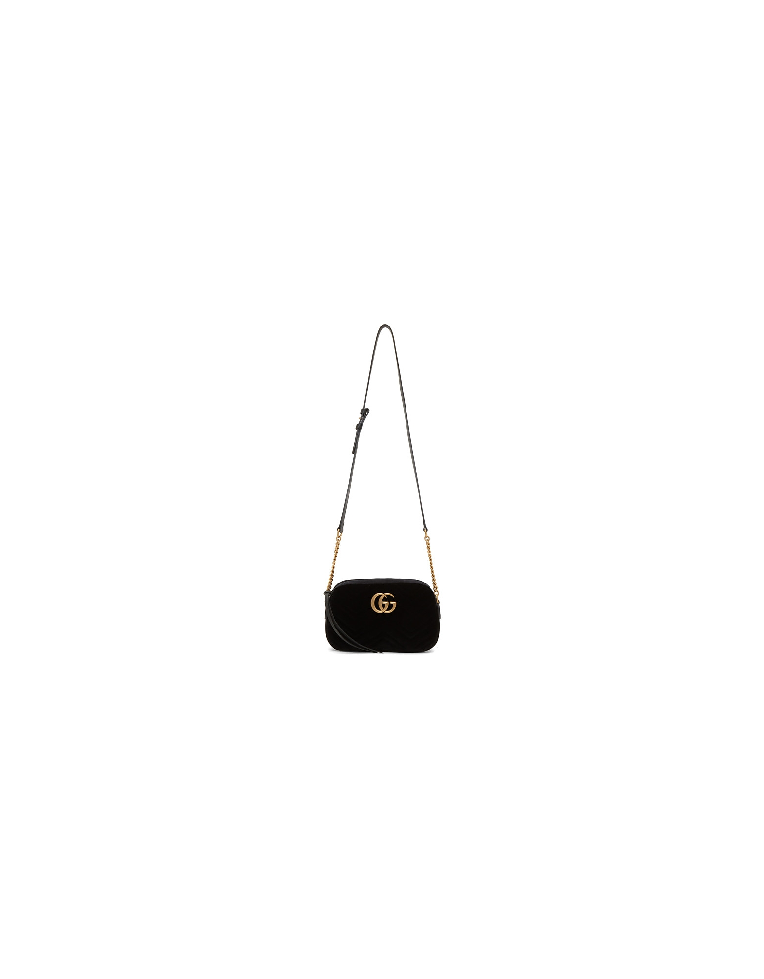 Gucci Designer Handbags, Black Velvet GG Marmont 2.0 Camera Bag
