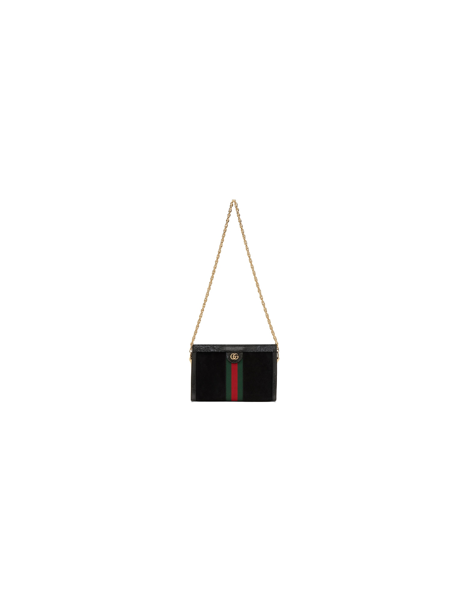Gucci Designer Handbags, Black Suede Small Ophidia Chain Bag